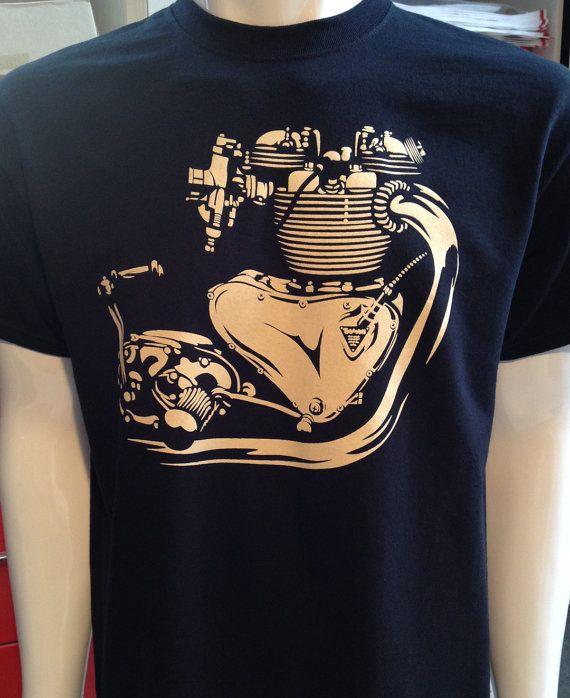 Triumph motorcycle T-Shirt vintage engine Bonneville by nealart
