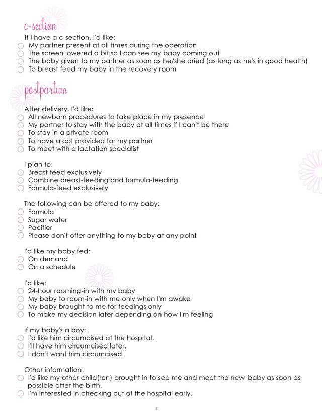 Birth Plan Worksheet, Page 3   Free Printable Coloring Pages