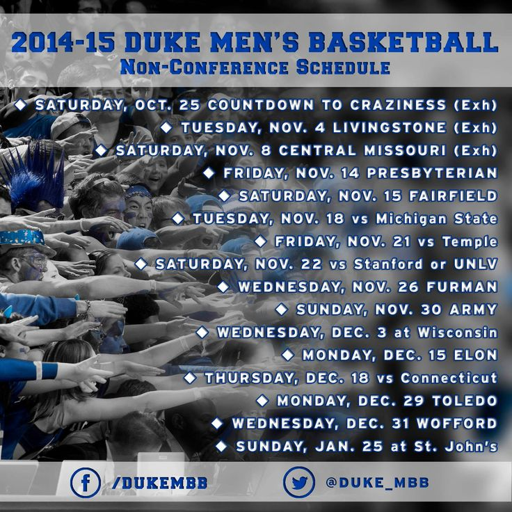 Check out the Duke men's basketball non-conference schedule for the 2014-15 season! #GoDuke