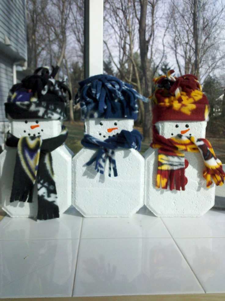 Snow Fans. Brick paver painted white. Felt on bottom. Any fleece you love for hat and scarf. Glue on buttons to match. Paint a happy face. Makes a wonderful gift.