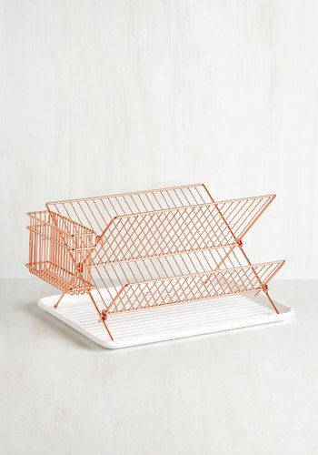 Dry and Mighty Dish Rack. When it comes to fun and functional kitchen accessories, this dish rack is evidence that you know your stuff! #copper #modcloth