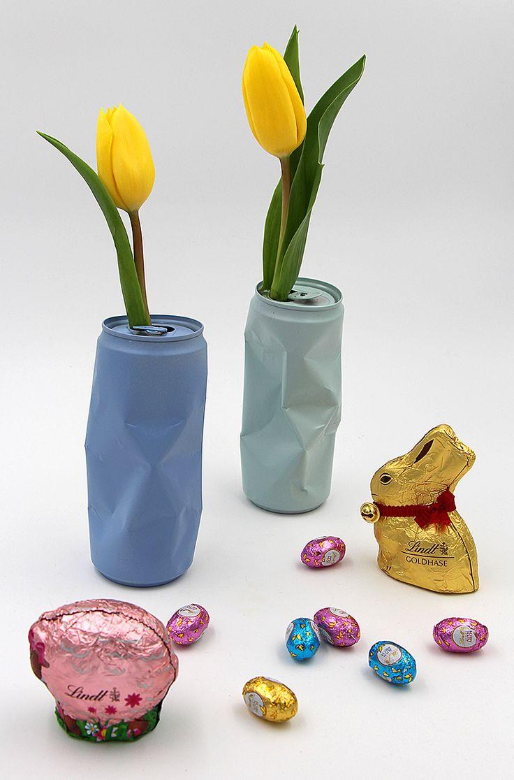 Dosen als Vasen selbst gemachte Oster Dekoration