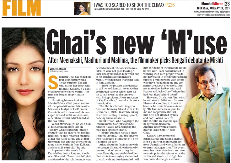 The new face, the new talent, all set to shine.     Mishti in the role of Subhash Ghai's kaanchi