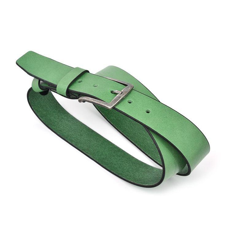 Curea Bocane din Piele Italiana, Verde, pentru Jeans - Bocane