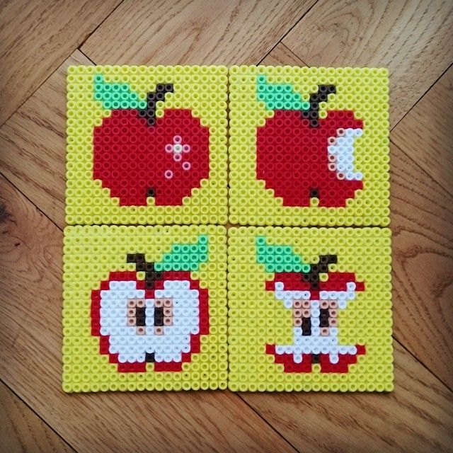 Apple coaster set perler beads by Thea IMYBY