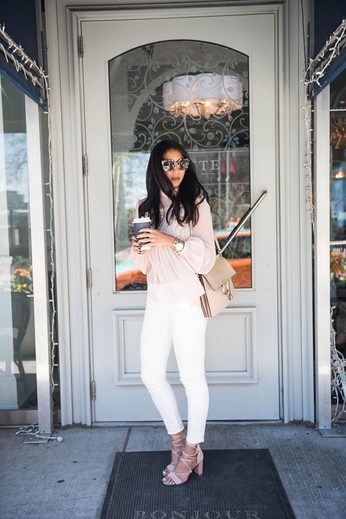 Style influencer Kayla from Not Your Standard steps out for a glam coffee break in our MARGO ghillie lace sandals