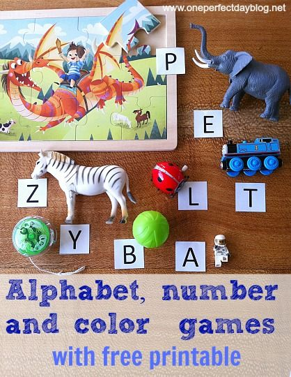 Fun ways for kids to learn letter recognition, counting and color matching with a free printable download.: Colors Learning Activities, Colors Games, Alphabet Games, Numbers Games For Kids, Alphabet Numbers Colors, Printable Games For Kids, Math Activities, Free Printables, Learning Letters