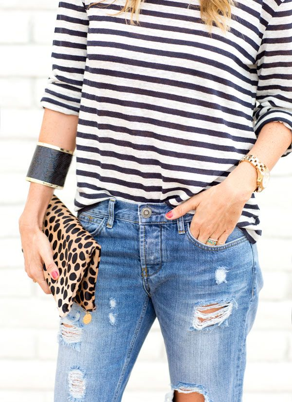 stripes, boyfriend jeans, leopard and heels, couldn't be more perfect!