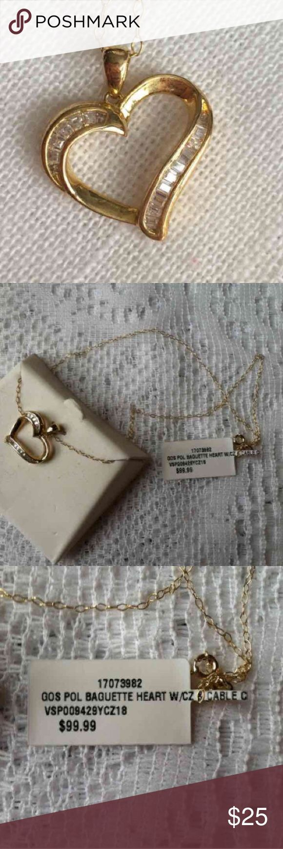 Cursive letter quot l quot cubic zirconia 14k gold finish pendant with 36 - Nwt Gold Over Silver Heart Necklace Brand New In Box Retail 99 99 Jewelry Necklaces