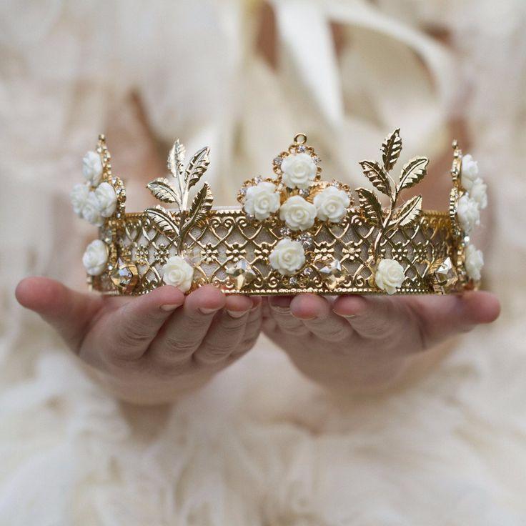Gold & Cream Dream Rose Royal Crown Tiara