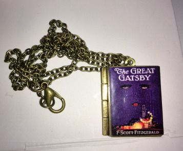 The Great Gatsby F Scott Fitzgerald vintage Book,Locket,Book Pendant with an antique brass chain, Free Shipping