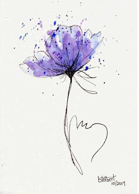 Poppy Flower Water Coloration Hand Painted Unique Watercolor Artwork Portray Pen and Ink Blue Purple Poppy Flower