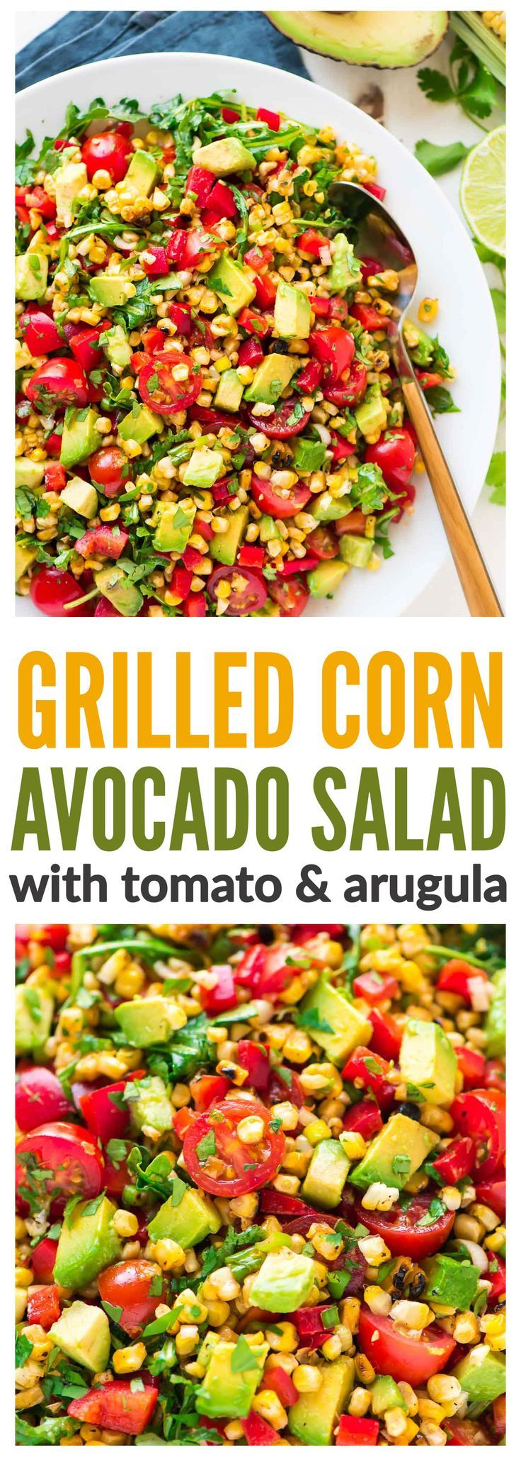 Grilled Corn Salad with Avocado, Tomato and Arugula. Summer's best side dish! Simple, delicious, and healthy recipe that's great for picnics, barbecues, and weeknight dinners. {gluten free} Recipe at wellplated.com | @wellplated