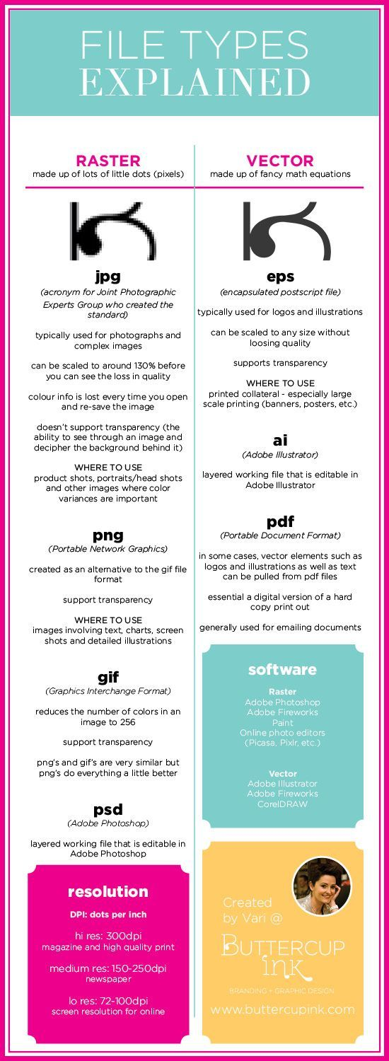 File types explained, infographic, business, graphic design http://www.buttercupink.com #infographics