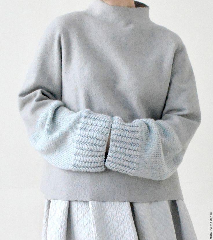 """Купить Свитер валяный """"Облака"""" - Новый Год, зима, джемпер, камин, свитер, серебристый, серый"""