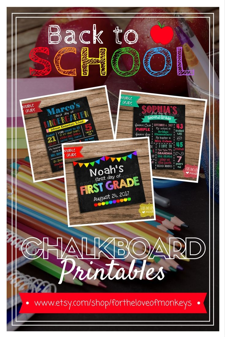 Back to School Printable, 1st Day of School Chalkboard Sign, Back to School Chalkboard Poster, Milestone Chalkboard