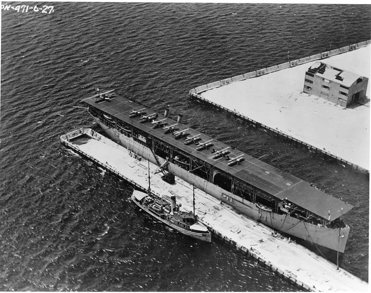 Langley CV 1 The US Navys First Aircraft Carrier Pictured During A