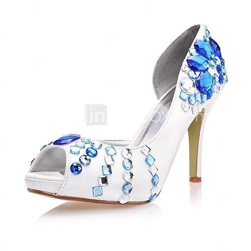 damesschoenen peep toe stiletto hak satijnen pumps trouwschoenen meer kleuren beschikbaar | LightInTheBox