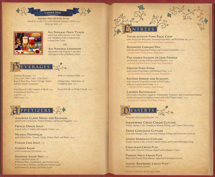 Be our guest restaurant menu art photo 2 of 3 disney for Artistic cuisine menu