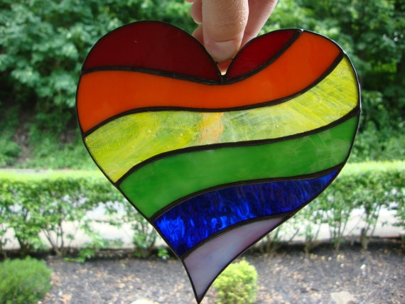 Stained glass rainbow heart LGBT equality by clarinetgirl36, $25.00