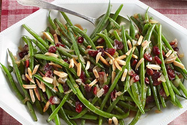 Like your green beans sweet and tangy? Then this delicious side, featuring caramelized onions and slivered almonds, is right up your alley.