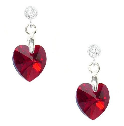 Tiny Sterling Silver & Dark Red Swarovski Crystal Heart Earrings - 1.5cm Drop, Hand Crafted in UK - Gift Boxed (E1) by Stardust and Sparkles, http://www.amazon.co.uk/dp/B004083V68/ref=cm_sw_r_pi_dp_c--crb1EADR7J