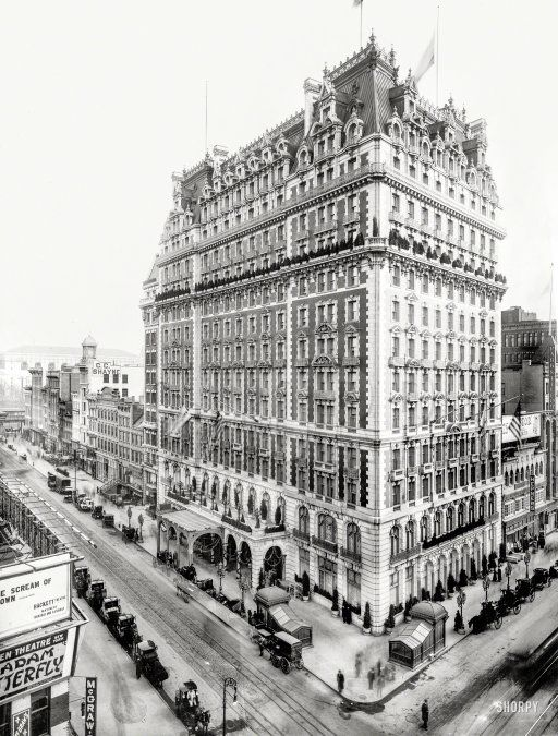 "New York circa 1907. ""Knickerbocker Hotel, Broadway & 42nd Street."" http://www.shorpy.com/node/21338 Detroit Publishing"