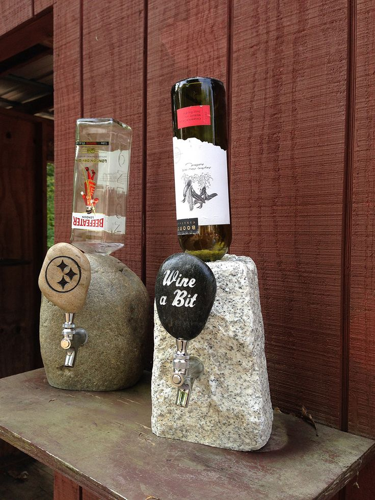 This is SO awesome! A stone bottle dispenser, with a customized nozzle! Would be a great way to present him with his favorite bottle of liquor or wine! Awesome Christmas gift for any guy.