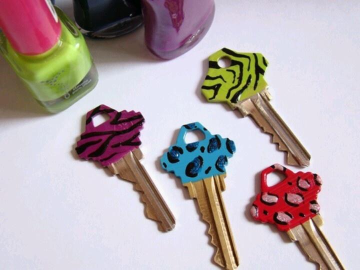 Painted keys with nail polish