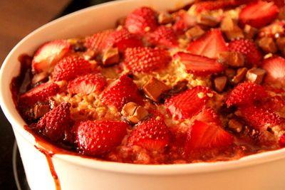 Baked Chocolate Strawberry Oatmeal