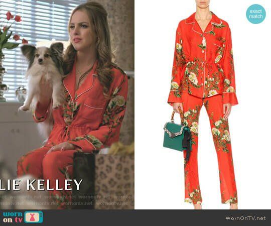 Fallon Carrington wears these printed red silk Gucci pajamas on Dynasty 1x08