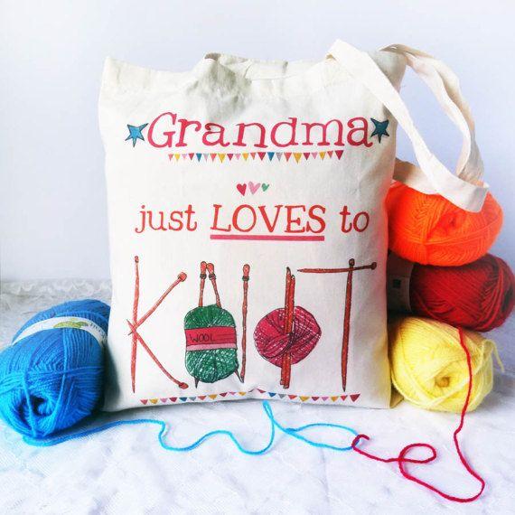 Personalised Crochet Knitting Wool Tote Bag Funny Gift For Her Mum Grandma