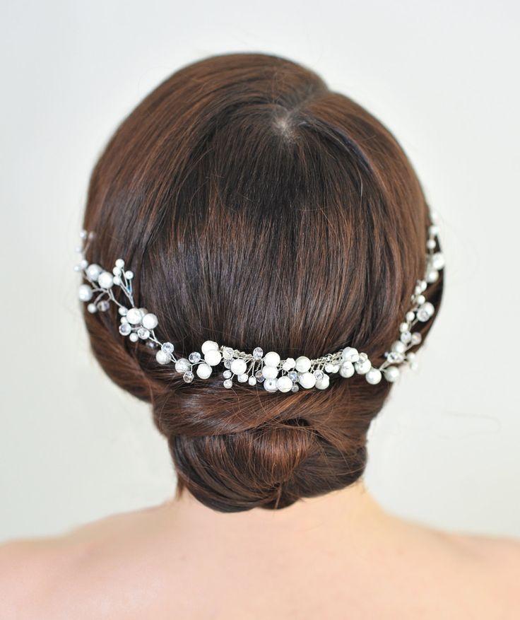 Pearl Сrystal Hair Comb Vine, Hair Сrystal Comb, Wedding Hair Comb Set , Hair Comb, Pearl Comb, Bridal Hairpiece, Pearl Hair Comb Earrings by StylishBrideAccs on Etsy