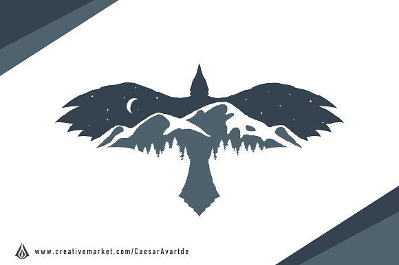 Raven Mountain Logo Template by Avartde Creative on @Graphicsauthor