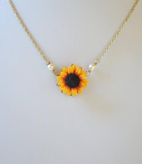 ORIGINAL Red Yellow Sunflower Pendant Necklace. Red Yellow Sunflower Simple Drop Necklace. Sunflower Necklace Jewelry. Choker Sunflower