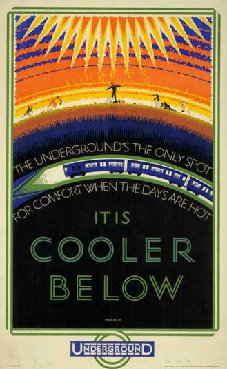 London Underground poster art.  It is cooler below, by Frederick Charles Herrick.
