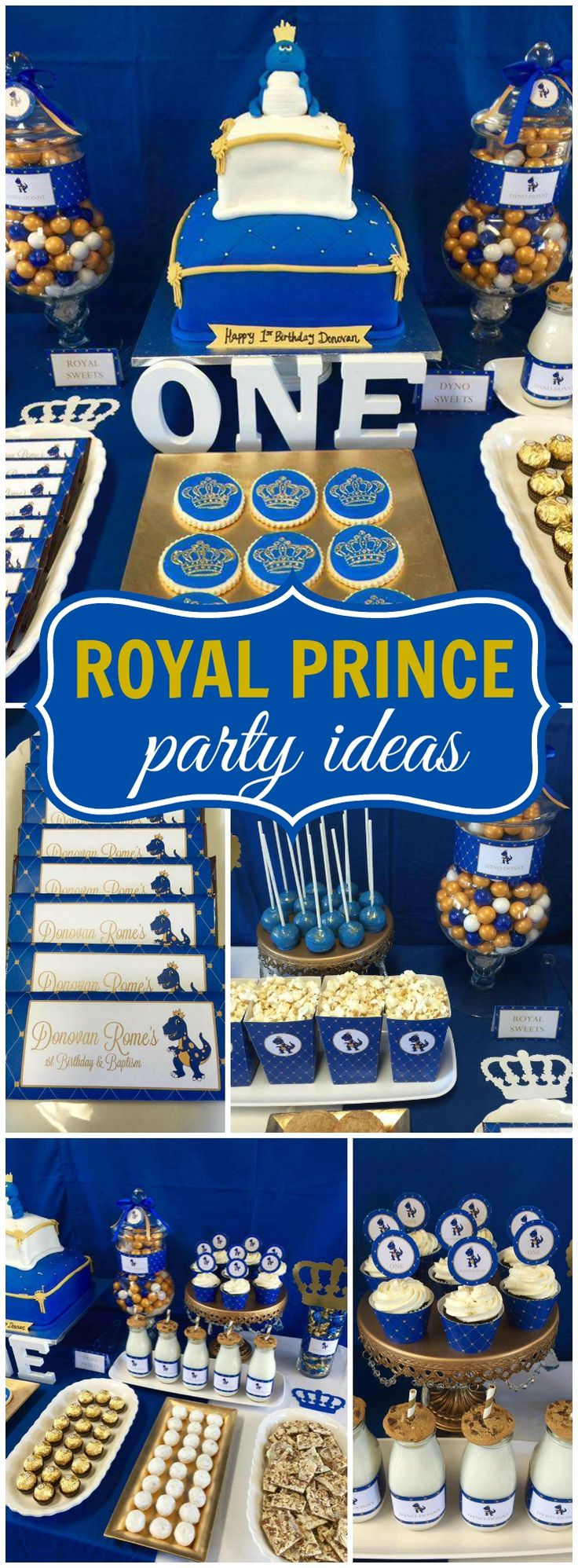What a fantastic blue and gold prince party for a first birthday!  See more party ideas at CatchMyParty.com!