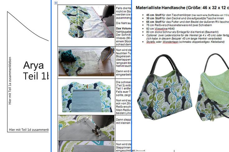 Tutorials bags - eBook: Arya - pocket with diagonal zip - a designer piece of Griselda on DaWanda 2 of 2
