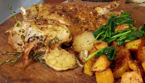 Nutmeg roast chicken with squash and spinach http://gustotv.com/recipes/lunch/nutmeg-roast-chicken-squash-spinach/