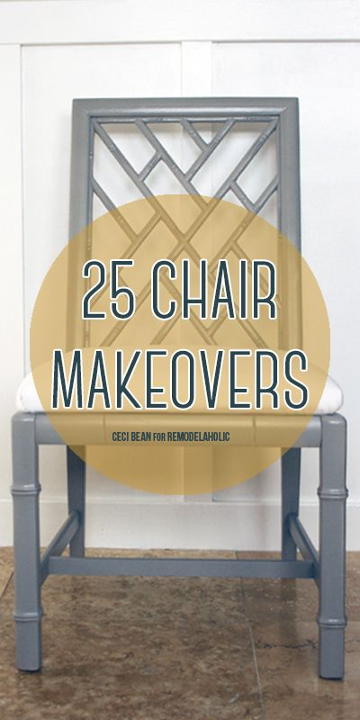 Take an old chair and breathe new life into it with 25 chair makeover ideas and tutorials for reupholstering, painting, and making new!