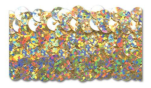 GOLD HOLOGRAM 1-1/4 INCH STRETCH SEQUIN 10 Yards Trimplace