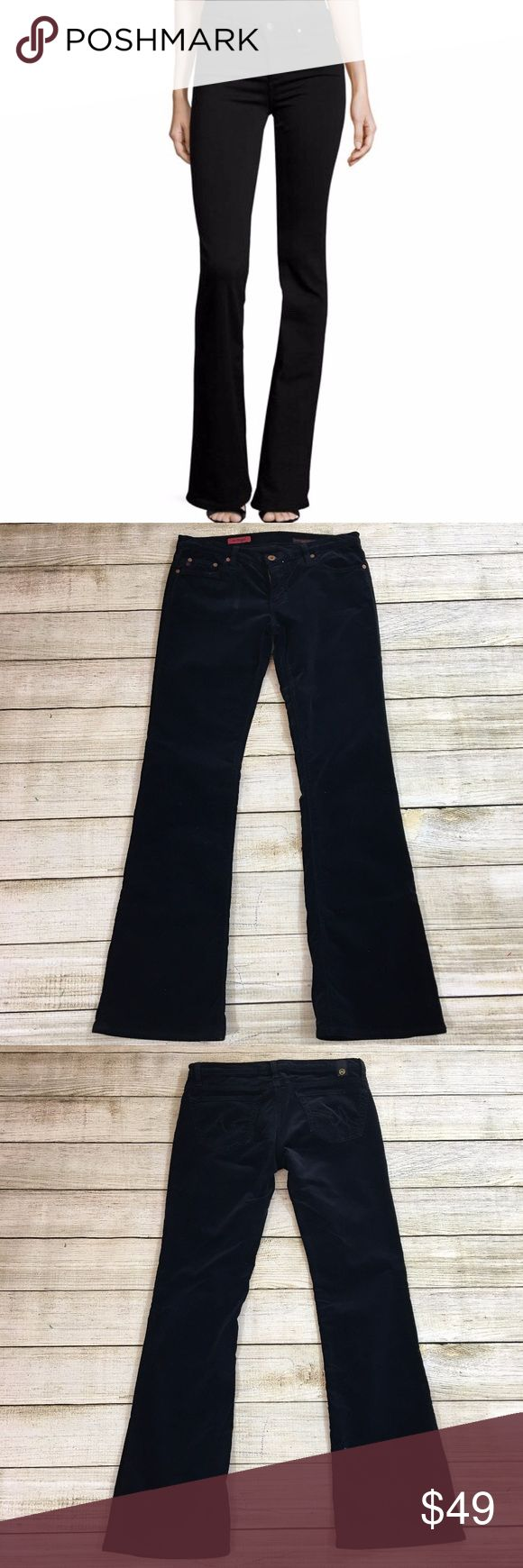 AG ADRIANO GOLDSCHMIED the Angel Jeans Inseam: 32 inches Lay Flat Waist: 15 inches Lay Flat Leg Opening: 10.5 inches Rise: 8 inches Fabric: 95% cotton, 5% polyurethane (these pants are velvet) Description: excellent condition  Bundle & Save: 10% off or more  NO TRADES Shipping within 24 hours Ag Adriano Goldschmied Jeans Flare & Wide Leg
