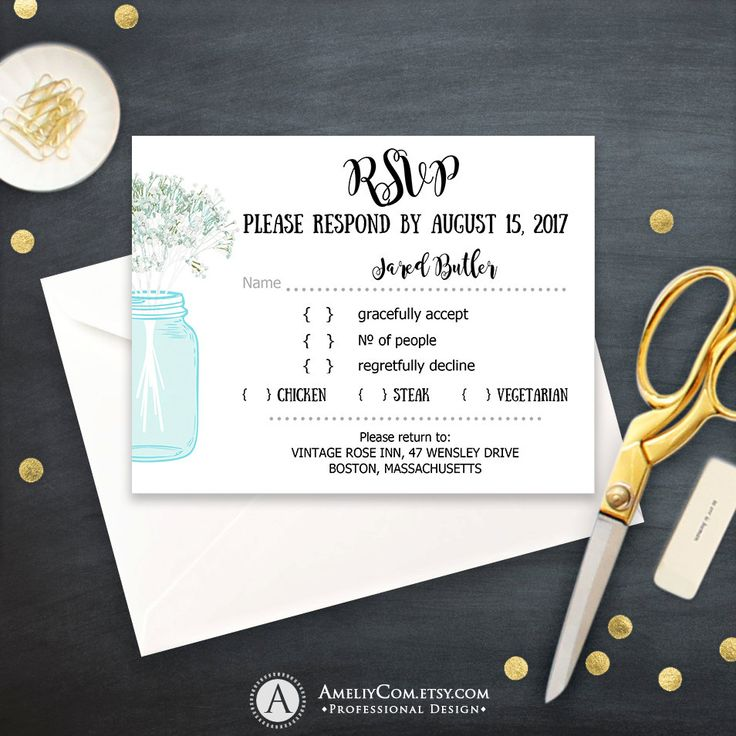 Blue RSVP Card Printable Rustic Mason Jar & Baby's Breath Teal Response Card Instant Download Wedding Reply Card EDITABLE Digital Template