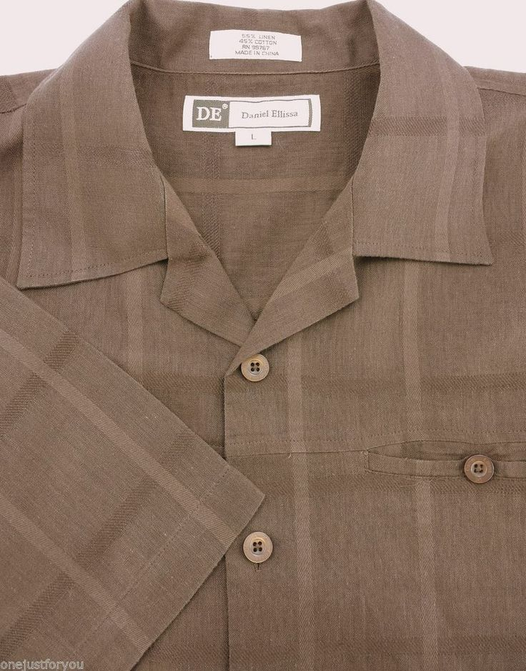 DE Daniel Ellissa L Large Cocoa Brown Mens Short Sleeve Cotton Linen Shirt