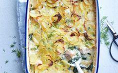 Ovenschotel met zalm, spinazie en aardappelkorstje