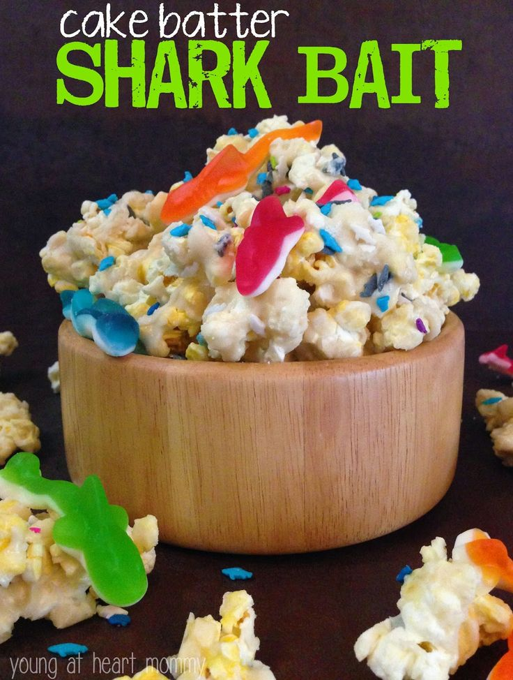 Popcorn + cake mix make the ultimate gooey, crunchy TV snack. Add gummy sharks for extra whimsy. Get the recipe from Young at Heart Mommy.   - Delish.com