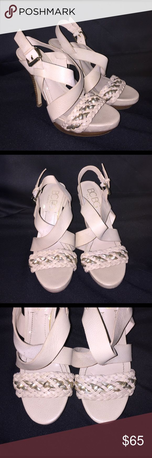 BCBG Paris Cream High Heels Stilettos 6B 36 NEW New, never before worn! These is some slight discolorations on the sole of the right shoe due to peeling off a sticker. Other than that, perfect condition! Feel free to ask any questions :) BCBG Shoes Heels