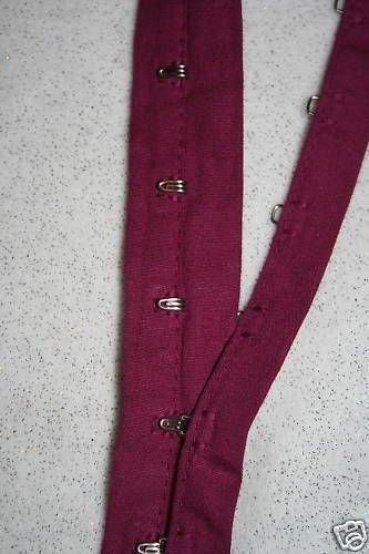 $1 yard Magenta Berry Cotton Silver Metal Hook Eye Tape By the Yard BTY Corset #Unbranded