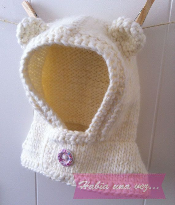 Gorro lana osito para bebés y niñas color blanco on Etsy, US$15,00
