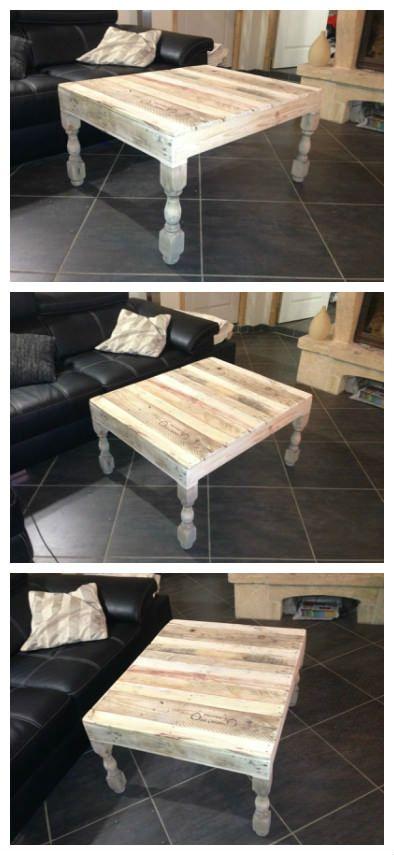 Table basse en palette avec pieds tournés en chêne.…